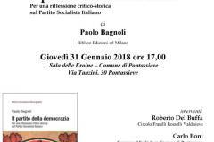 Il partito della democrazia di Paolo Bagnoli. Pontassieve, Sala delle Eroine, giovedì 31 gennaio 2019 ore 17:00. Locandina