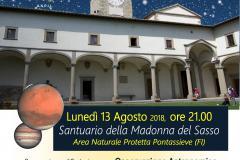 Pontassieve, 13 agosto 2018. Osservazione astronomica guidata a commentata dagli esperti della società astronomica Galileo Galilei