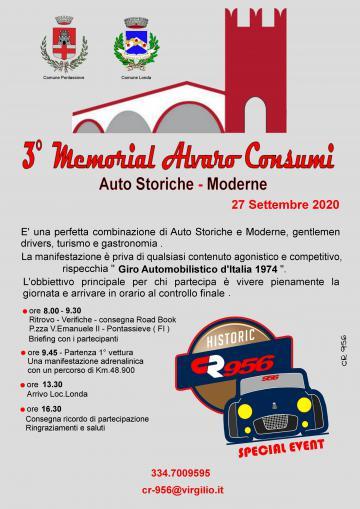 3° Memorial Alvaro Consumi. 27 settembre 2020