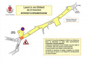 Pontassieve, Da lunedì 23 novembre 2020 cantiere in via Ghiberti, all'intersezione con Via Roma e Piazza Boetani