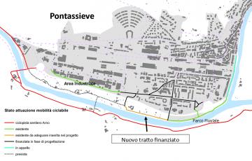 Pontassieve.Pista ciclabile tra il Parco Fluviale al Ponte di Rosano