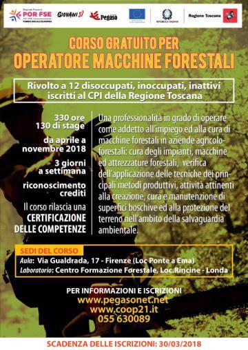 Corso gratuito per operatore macchine forestali 2018