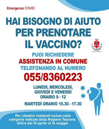 Comune di Pontassieve, supporto per prenotazione dei vaccini per gli anziani