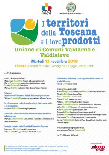 I territori della Toscana e i loro prodotto. 13 movembre 2018