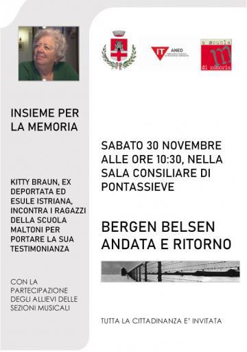 Bergen Belsen, andata e ritorno. Incontro con Kitty Braun. Sabato 30 novembre 2019, ore 10.30. Sala del Consiglio comunale