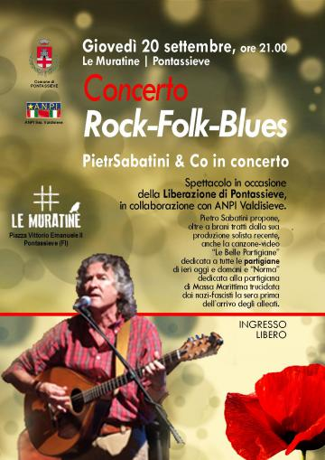 Rock-Folk-Blues con Pietro Sabatini & Co in concerto. 20/09/2018 Le Muratine, Pontassieve